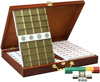 ZHLJ Acrylic Mahjong Home Travel Leisure Entertainment Toy Black Gold Collection Wooden Storage Box Mahjong