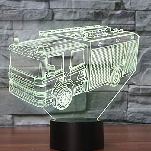 JYHW 3D Led Night Light Fire Engine Voiture avec 7 couleurs de lumière pour la décoration de la maison lampe Amazing Visualization Optical Illusion Awesome
