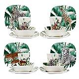 EDGO - Vajilla de melamina, 16 piezas, varios temas y diseño contemporáneo, a prueba de roturas y apto para lavavajillas (Safari)