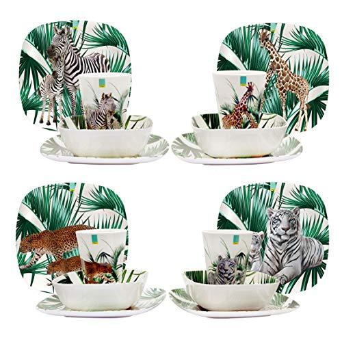 EDGO 16 Piece Melamine Dinner Set (Safari)