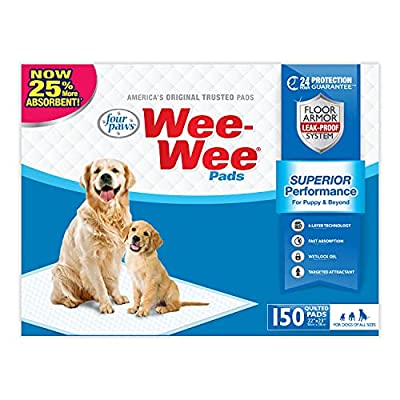 """Wee-Wee Puppy Training Pee Pads 150-Count 22"""" x 23"""" Standard Size Pads for Dogs by Central Garden & Pet"""