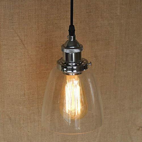 L.J.JZDY Araña Sombra de Cristal Clara lámpara Colgante con Edison la Bombilla for Cafetería Bar Comedor Cocina Colgante Ligera