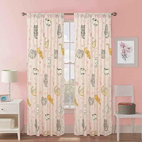 Kidz Mix Sleepy Cats Window Curtain Panel Drapes Pair for Kids' Bedroom, Pink, 48x84