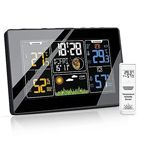 Wetterstation Funk mit Außensensor und Funkuhr Digitales Farbdisplay DCF-Funkuhr Thermometer-Hygrometer für Innen und außen Multifunktionale Funkwetterstation mit Wettervorhersage, Wecker und Mehr