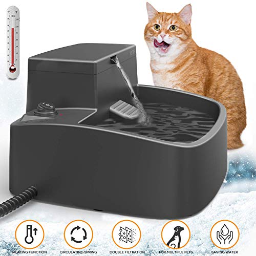2020 Newest Dog Water Fountain,Upgraded 2 in 1 Cat Drinking Fountain and Heated Thermal Water Bowl Indoor Outdoor,Pet Heating Garden Water Feeder for Multi-Pet Chicken Squirrel,Winter Ice-Free,52oz