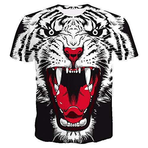 2019 Zomer t-shirt fitness mannen korte mouwen shirt 3D tijgerprint t-shirt straatdoorlatend oanzet sportkleding