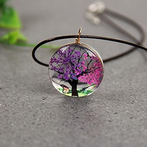 QIN Collares con Colgante de árbol de Vida de Flores secas Naturales para Mujer, Bola de Cristal de Resina Transparente, Collares Redondos de Flores secas Reales, joyería