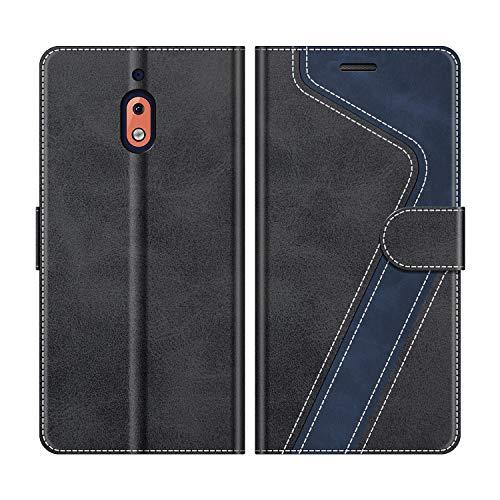MOBESV Handyhülle für Nokia 2.1 Hülle Leder, Nokia 2.1 Klapphülle Handytasche Case für Nokia 2.1 Handy Hüllen, Modisch Schwarz