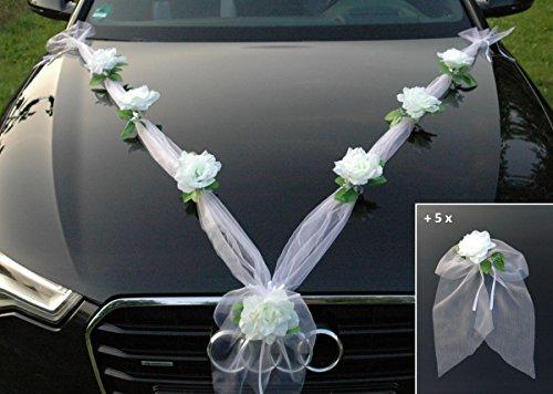 Autoschmuck Organza M + Schleife Auto Schmuck Braut Paar Rose Deko Dekoration Hochzeit Car Auto Wedding Deko Ratan Girlande PKW … (Weiß Weiß)