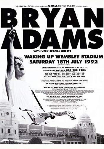Desconocido Bryan Adams Waking Up Wembley Stadium 1992 Póster Foto Neighbours 001 (A5-A4-A3) - A3