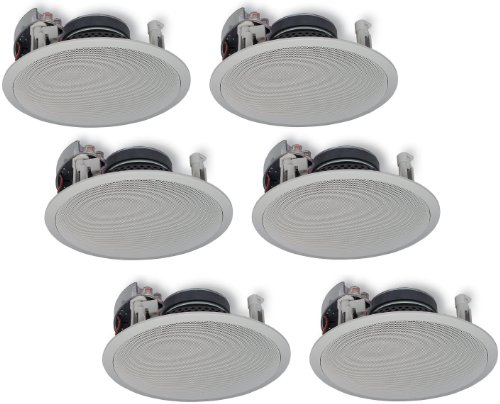 """Yamaha In-Ceiling 3-Way 100 watts Natural Sound Custom Easy-to-install Speakers (Set of 6) with Dual Tweeters & 6-1/2"""" Woofer for 1 Large Room or Several Smaller Rooms"""