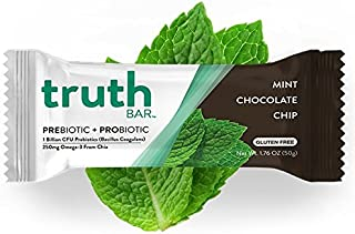 Truth Bar (Prebiotic + Probiotic) - Mint Chocolate Chip (12 Pack) - Low Sugar, High Fiber, 10g Protein, Gluten Free, Non-GMO, Soy Free, Kosher, Nutrition Snack Bar with Premium Dark Chocolate