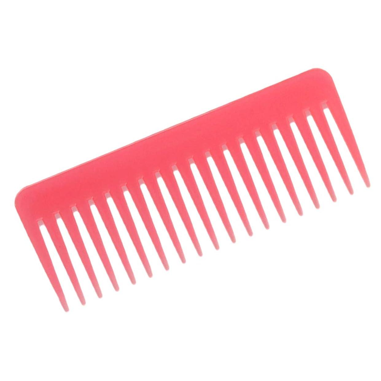 飛行機ペナルティ負荷ヘアブラシ 巻き毛 広い歯 櫛 サロン シャンプーくし 3色選べ - ピンク