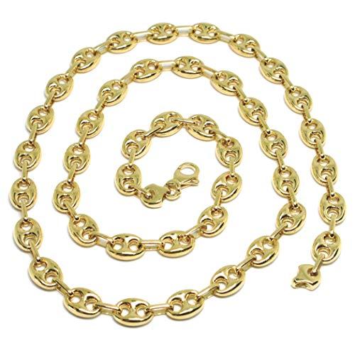 Cadena larga de oro amarillo 750 18 K, longitud 60 cm (24 pulgadas), marinera 8 mm, ovalados abombados, fabricado en Italia