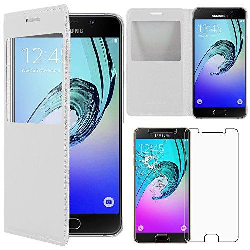 """ebestStar - Funda Compatible con Samsung A3 2016 Galaxy SM-A310F Carcasa Ventana Vista Cover Cuero PU Funda Billetera, Blanco + Cristal Templado [Aparato: 134.5x65.2x7.3mm 4.7""""]"""