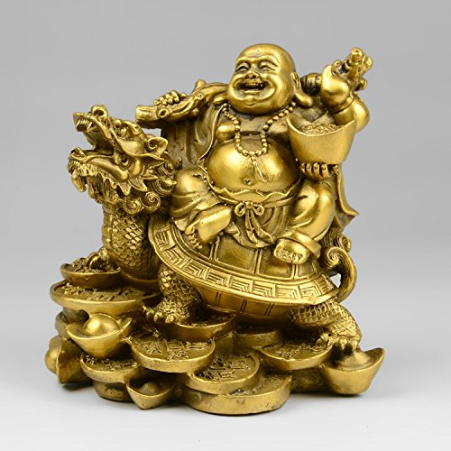 YUNHAO Statue de dragon chinois en laiton - Bouddha rieur Ma