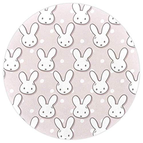 AIBILI Teppich, süßes Kaninchen, Maulkorb, gepunktet, rund, für Wohnzimmer, Kinderzimmer, Heimdekoration
