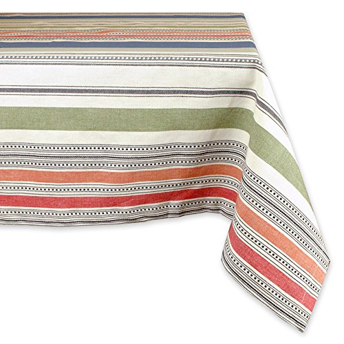 """DII 100% Cotton, Machine Washable, Dinner, Summer & Picnic Tablecloth, 60 x 104"""", Warm Stripe, Seats 8 to 10 People"""
