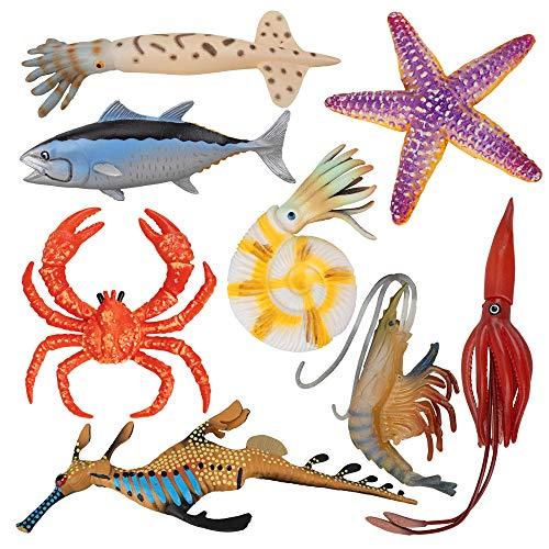 Toymany 8PCS Plastic Sea Ocean Animal Figurines Bath Toy with Crab Starfish Squid Fish, Rubber Marine Creature Figures for Decor Aquarium Fish Tank
