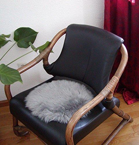 HEITMANN runde Sitzauflage aus australischen Lammfellen, Fellkissen grau, Ø ca. 45 cm, waschbar, Haarlänge ca. 70 mm