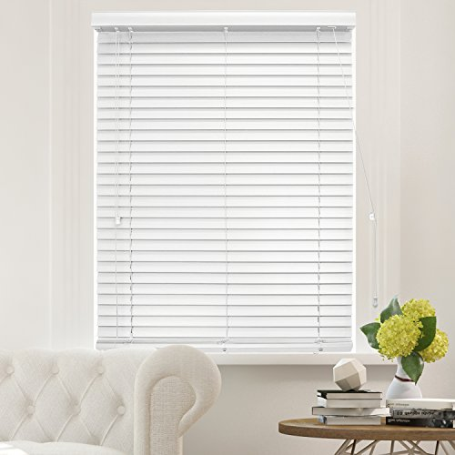 Chicology Faux Wood Blinds / window horizontal 2-inch venetian slat, Faux Wood, Variable Light Control - Simply White, 46'W X 64'H
