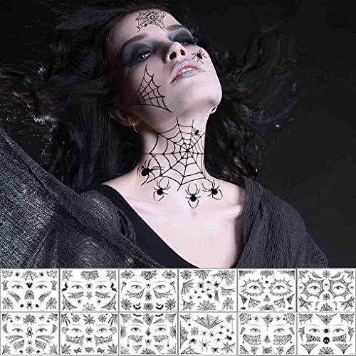 COKOHAPPY Halloween Spider Face Tattoos Spider Web Spider Net Temporary Tattoos - Face Tattoos Stickers, Halloween Costume Apparel Cosplay Accessories Party Favor Supplies
