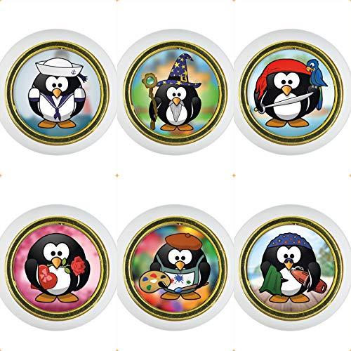 Kunststoff Möbelknopf Möbelgriff Möbelknauf Set 015WP Pinguin Lustig 6er Kleine Universal Möbelknöpfe für Schrank, Schublade, Kommode, Tür, Küche, Bad, Haushalt Kinder Kinderzimmer