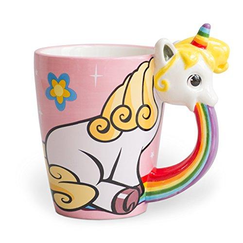 el & groove Einhorn-Tasse groß bunt in 3D, Kaffee-Tasse 350ml (400ml randvoll), Tee-Tasse Einhorn aus Keramik in Rosa, Unicorn Becher, Geschenkidee, Geschenk für Frauen, Geschenk Weihnacht