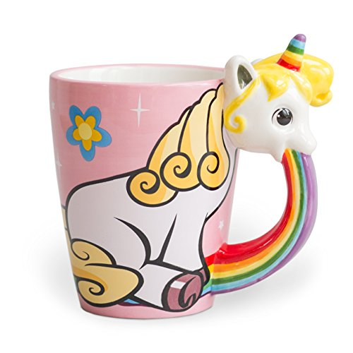 el & groove funny Unicorn mug (12oz capacity) in pink with rainbow and stars made of ceramics | funny coffee mug funny tea cup | gift for girls and women | magical mood lift unicorn cup | unicorn gift
