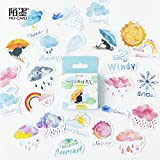 BLOUR 45 unids/Pack Cinta Adhesiva Decorativa de Clima Encantador para niños, Juego de Pegatinas para álbumes de Recortes y Manualidades para Diario, álbum