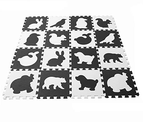 MUSOLEI Baby Play Bodenmatte Tierpuzzle, Spielzeug Übungsspielmatte Weicher EVA-Schaum Ineinandergreifende Bodenfliesen 16 Stück pro Stück = 30 * 30 cm dick 1 cm weiß schwarz
