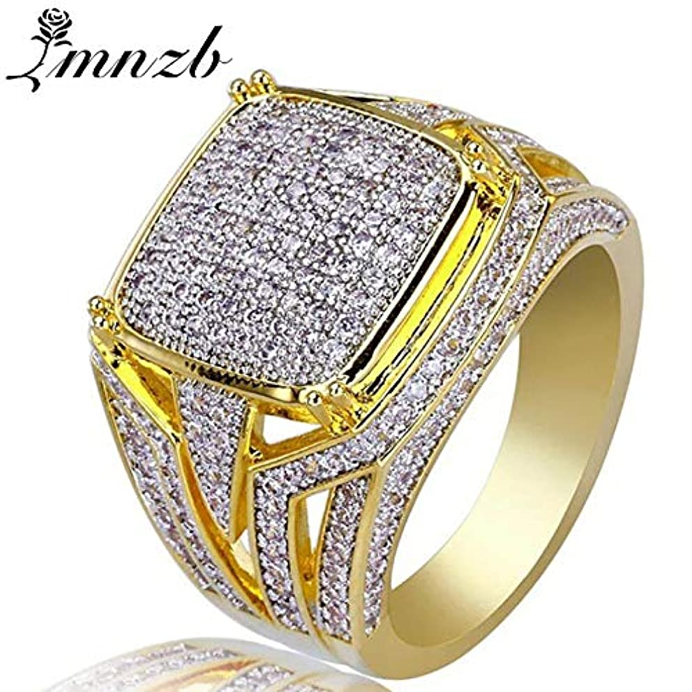 Luxury Big Rings for Men Women Bling Square Ring Micro Pave Rhinestone Ring Gold Color Fashion Jewelry Accessories R790