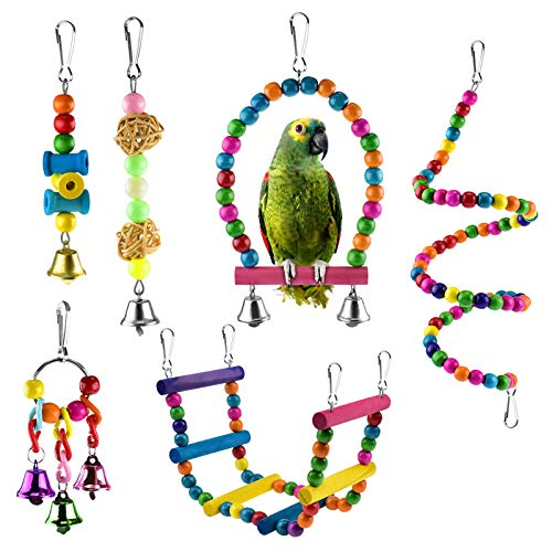 KATUMO 6 pcs Bird Parrot Toys, Bird Swing Toy Colorful Chewing Hanging Hammock Swing Bell Pet Climbing Ladders Toys Bird Toys for Parrots, Parakeet, Conure, Cockatiel, Mynah, Love Birds