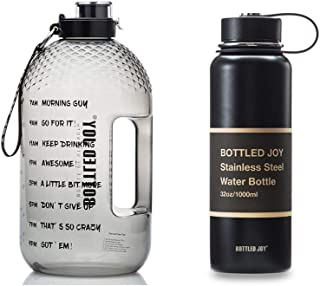 BOTTLED JOY 1 Gallon Water Bottle and 32oz Insulated Water Bottle with Time Marked Suite Products, Tritan BPA Free Water B...
