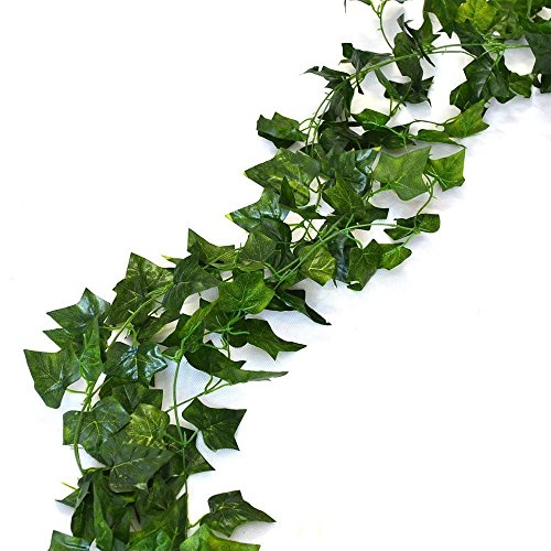 12 Pack 84 Ft Artificial Garland Fake Foliage Artificial Ivy Vine Ivy Leaves Garland Artificial Hanging Plants Wedding Garland for Home Decor Indoor Outdoors Wedding Wall Decor (Ivy Leaves)