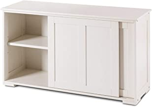 LHONE Stackable Storage Cabinet Sliding Wood Doors Kitchen Sideboard Buffet Storage Cabinet Kitchen Dining Room Storage Cupboard (White)