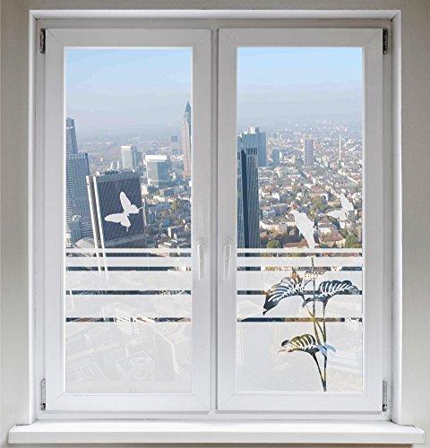 INDIGOS UG Sonnenschutz Glasdekor Schmetterlinge Dekorfolie Lilie Sichtschutz Fensterfolie Calla satiniert Blickdicht - 1000mm Breite x 500mm Höhe - auch mit Individueller Breite