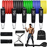 FOGOFOMO 150 lbs Resistance Bands Set 5 Stackable Workout Bands for Men Women 11pcs Resistance Tubes Strength Training Fitness Exercise Bands with Handles Door Anchor Ankle Home Gym Attachments