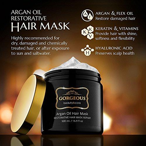 Gorgeous Argan Oil Hair Mask keratin Deep Conditioner All Hair Types 16.9 fl oz