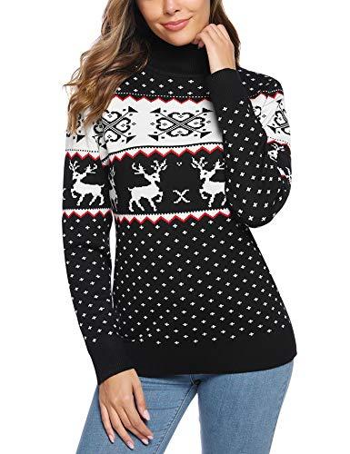 iClosam Damen Pullover Weihnachten Rollkragenpullover Winter Pullis Lang Strickpulli Christmas Sweater Rollkragenpulli mit Rentiermuster Elegant Langarm Strickpullover Weich Sweatshirt