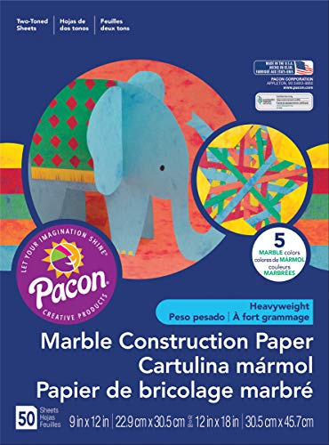 Pacon Marble Construction Paper, 12' x 18', 50-Count, Assorted Marble (148201)