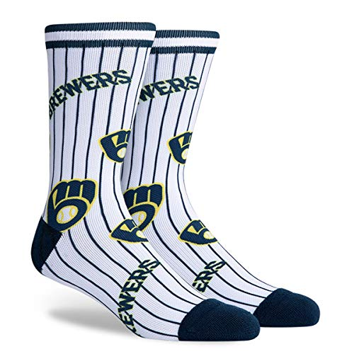 PKWY Unisex 1-Pack Brewers Crew Socks (Large (Men