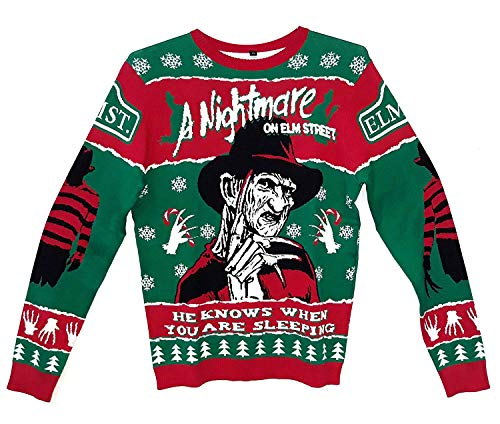 Nightmare On Elm Street Freddy A Holiday Knit Sweater Mens Pullover, Green, Medium