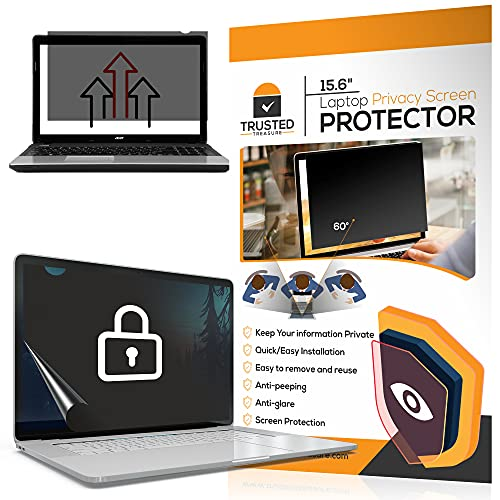 Laptop Computer Privacy Screen Protector - Fits 15.6 inch Screens 16:9 Ratio Protect Your Private Information While at Work or in Public Anti-Glare Monitor Screen Cover - Trusted Treasure