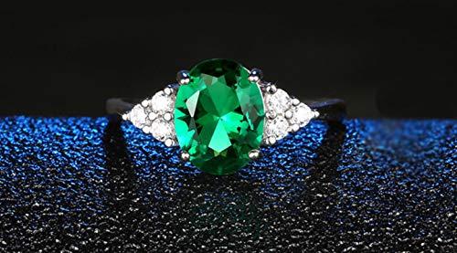 liuliu Anillos de Esmeralda de Laboratorio de circonita Ovalada Verde para Mujer Compromiso Anillo de Piedras Preciosas de Plata esterlina 925 Regalo de joyería de Boda Femenina