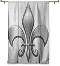 Andrea Sam Roman Curtain Fleur De Lis,Lily Flower Symbol Nobility of Knights in Medieval Time European Iris Icon, White Silver,23
