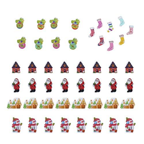 HEALLILY Bottoni in Legno di Natale 60 Bottoni Decorativi Bottoni a Tema Natalizio Fai da Te per Cucire Lavorare a Maglia Decorazioni per Scrapbooking