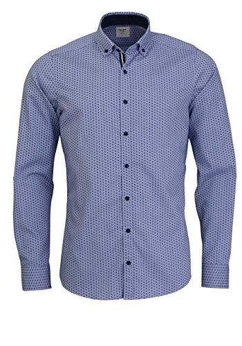 OLYMP Level Five Casual Body fit Hemd Langarm Muster blau Größe XXL