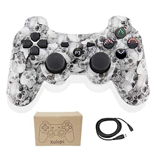 Kolopc Wireless Controller for PS3 Double Shock - Bundled with USB Charge Cord (WhiteSkull)