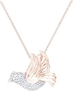 White Natural Diamond Dove Pendant Necklace in 14K Gold Over Sterling Silver (1/8 Ct)